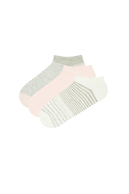 Penti Kadın Pembe Gri Beyaz Patik Çorap 3lü