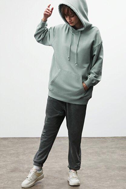 GRIMELANGE FRIDA Kadın Mint Oversize Kapüşonlu Sweatshirt