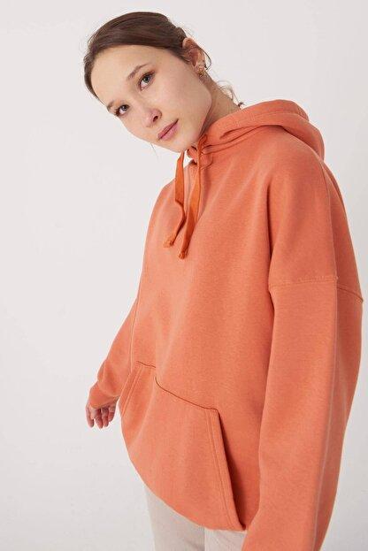 Addax Kadın Kayısı Kapüşonlu Sweatshirt S0519 - P10V1 Adx-0000014040