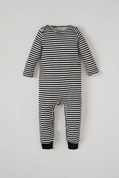 Defacto Erkek Bebek Çizgi Desenli Uzun Kol Çıtçıtlı Pamuklu Tulum