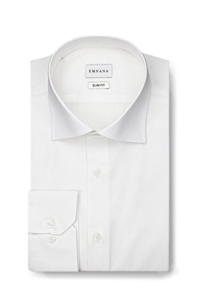 EMNANA Erkek  Beyaz   Buruşmaz Wrinkle Free Slim Fit Gömlek