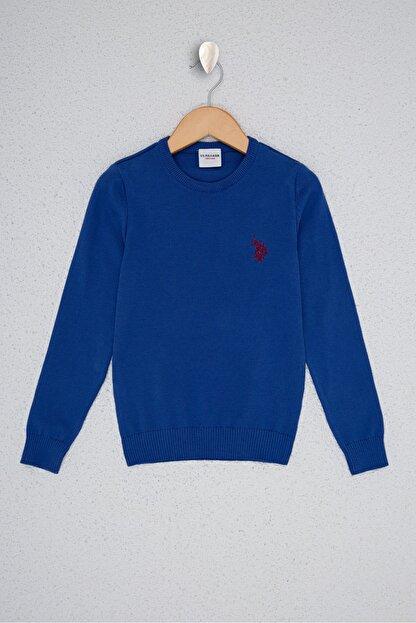 US Polo Assn Mavi Erkek Çocuk Triko Kazak