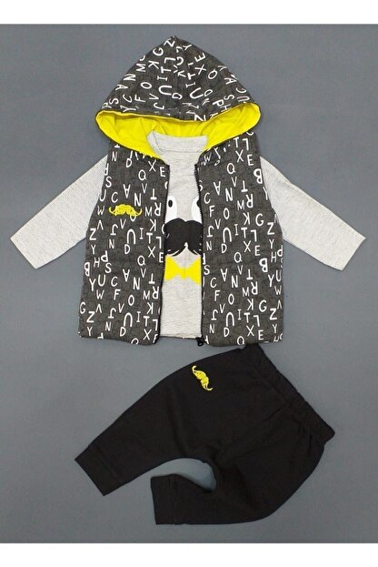 Hippil Erkek Bebek Gri 3 Parça Yelekli Takım ,hıppıl Baby %100 Pamuk Ürün