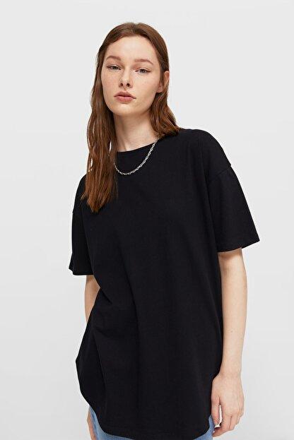 Stradivarius Kadın Siyah Uzun Basic T-shirt