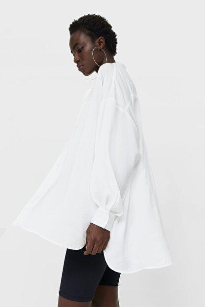 Stradivarius Kadın Beyaz Saten Gömlek