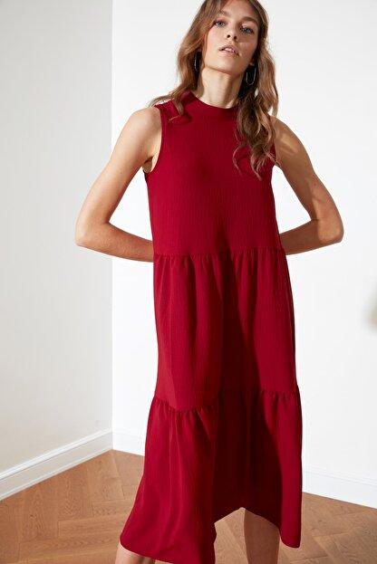 TRENDYOLMİLLA Bordo Geniş Kesim Elbise TWOSS20EL1864