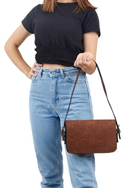 Lebina Kahverengi Kapaklı Baget Çanta