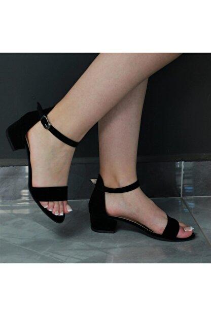 SerraTrend Jeune Tek Bant Bilekten Bağlı Düşük Topuklu Süet Ayakkabı