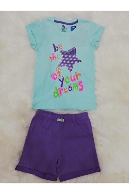 Wonder Kids Kız Çocuk Yeşil Penye Şortlu Takım 130609