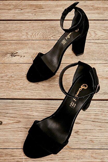 Bambi Siyah Süet Kadın Klasik Topuklu Ayakkabı K01503741072
