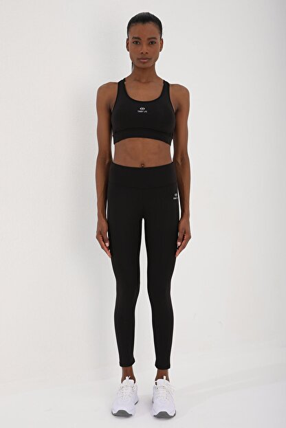 Tommy Life Siyah-siyah Kadın Simli Yüksek Bel Toparlayıcılı Çapraz Sırt Detaylı Tayt Takım - 95282