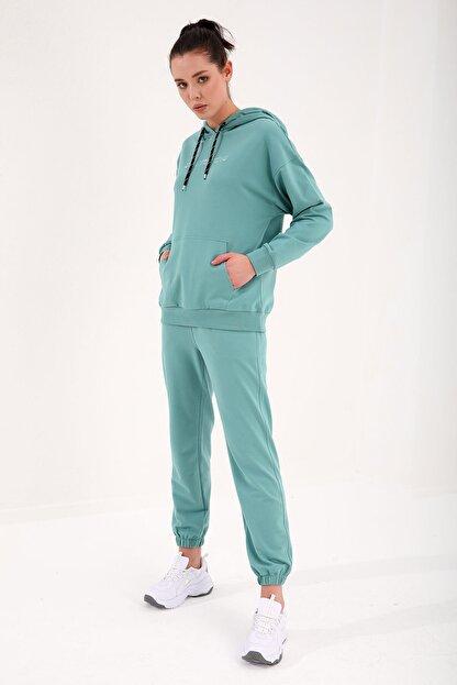 Tommy Life Mint Yeşil Kadın Kapüşonlu Kanguru Cep Oversize Lastik Paça Eşofman Takımı - 95288