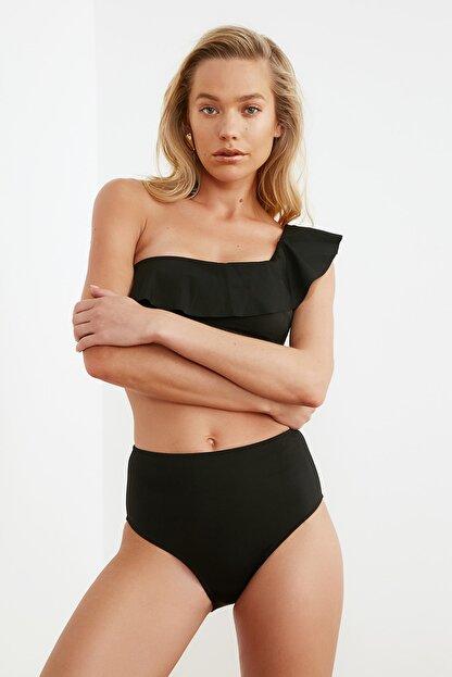 TRENDYOLMİLLA Siyah Bağlama Detaylı Yüksek Bel Bikini Altı TBESS21BA0057