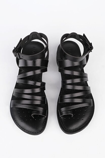 Marjin Kadın Siyah Hakiki Deri Günlük Sandalet Saper