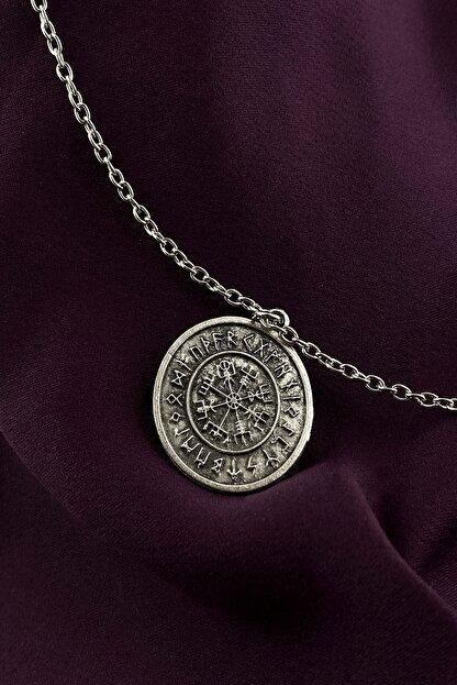 MOONİ ACCESSORİES Unisex Gümüş Viking Pusulası Kaplama Zincir Kolye