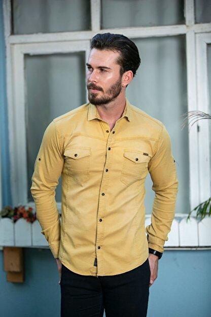 BAYEFENDİ Sarı Cepli Kot Gömlek Slim Fit