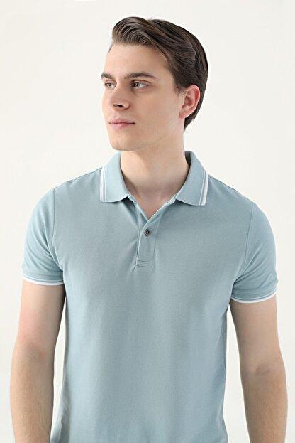 D'S Damat Erkek Yeşil Slim Fit Mint Pike Dokulu T-shirt