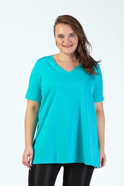 Büyük Moda Kadın Turkuaz V Yaka Basıc T-Shirt
