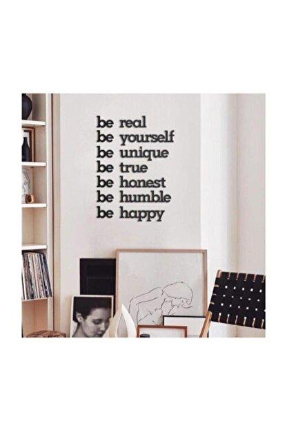 Hellove Siyah Be Real Be Yourself Ahşap Mdf Dekoratif Duvar Yazısı