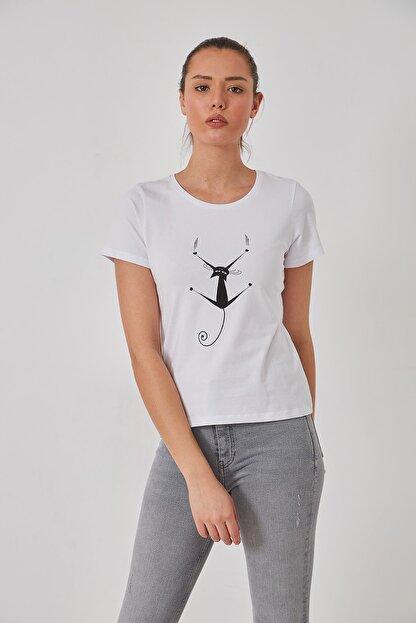 FSM Kedi Baskılı Pamuk Penye Tshirt