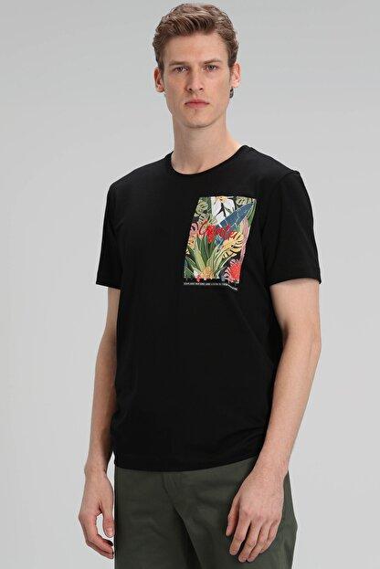 Lufian Monato Modern Grafik T- Shirt Siyah