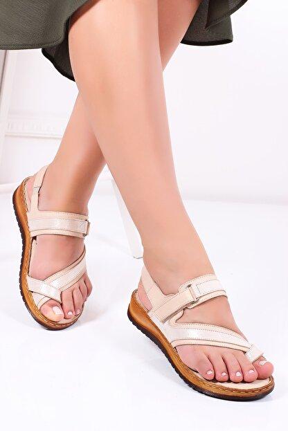 Deripabuc Hakiki Deri Bej Kadın Deri Sandalet Dp05-s003