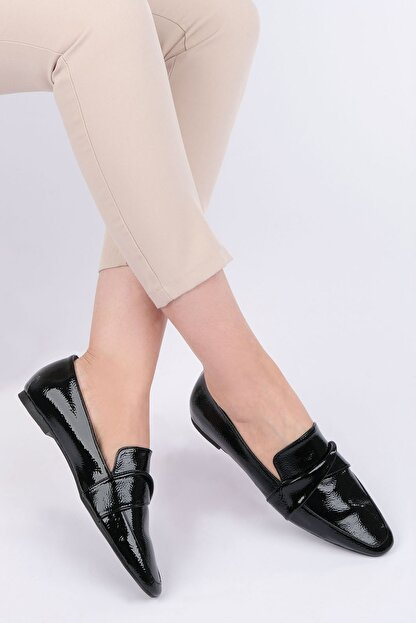 Marjin Kadın Siyah Rugan Loafer Ayakkabı Rezva