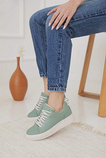 Straswans Kadın Yeşil Papel Deri Spor Ayakkabı