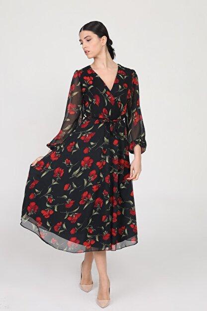 Ceylen Kadın  Siyah Kruvaze Yaka Kollu Midi Şifon Elbise