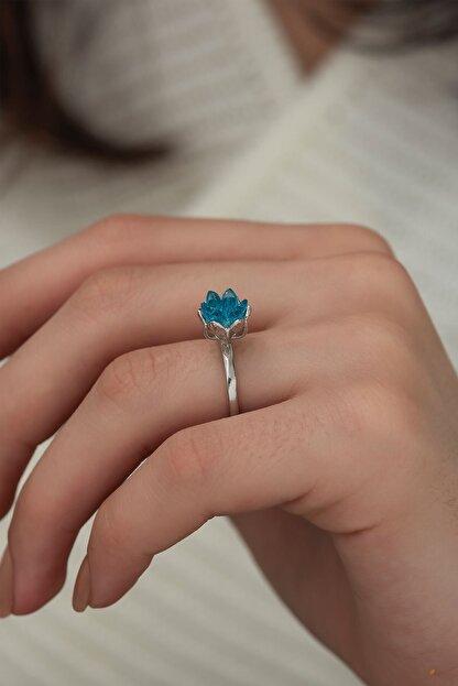 Ervanur Gümüş Kaplama Akuamarin Mavi Zirkon Taşlı Lotus Çiçeği Kadın Yüzük