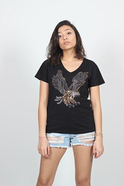 AlpinTeks Kadın Siyah V Yaka Kartal Baskılı Taş İşlemeli T-shirt