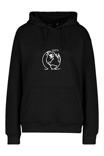 FAVORİZADE Ünisex Siyah Earth Baskılı Kapüşonlu Sweatshirt