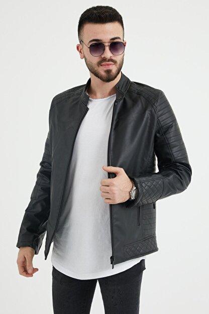Densmood Slim Fit Yaka Ve Kol Detaylı Siyah Deri Ceket