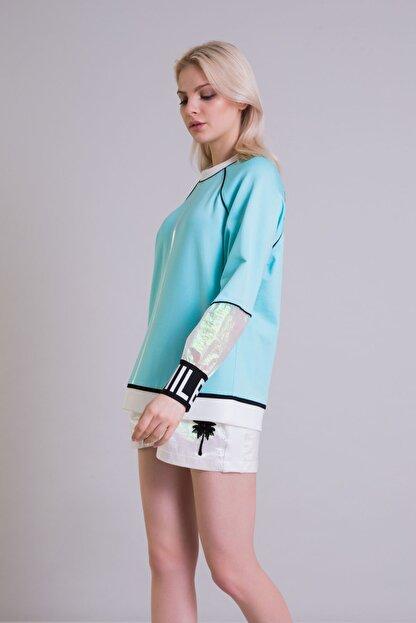 GIZIA Hologram Bilek Detaylı Turkuaz Renk Sweatshirt
