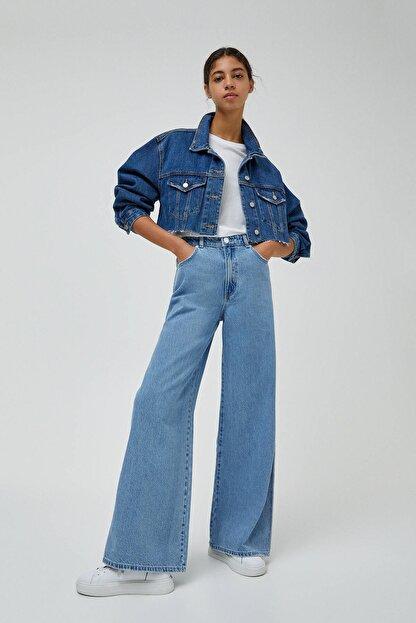 Pull & Bear Kadın Orta Mavi Yüksek Bel Geniş Paça Jean 04685302