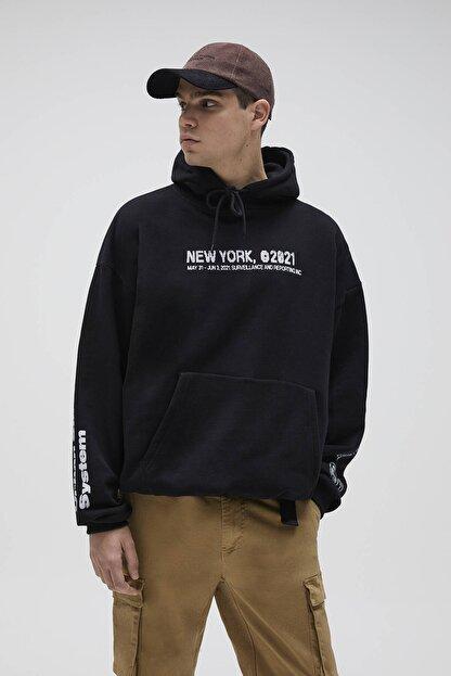 Pull & Bear Erkek Siyah Oversize Stwd Kapüşonlu Sweatshirt 04592526