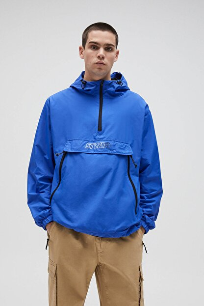 Pull & Bear Erkek Yoğun Mavi Basic Stwd Logolu Kanguru Mont 04711541