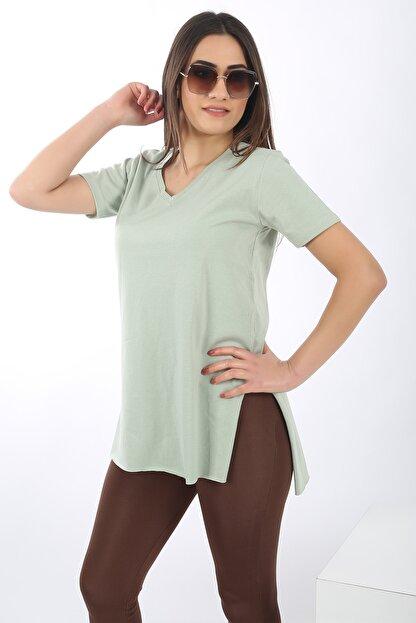 SARAMODEX Kadın Mint Yeşili V Yaka Düz Renk Basic T-Shirt