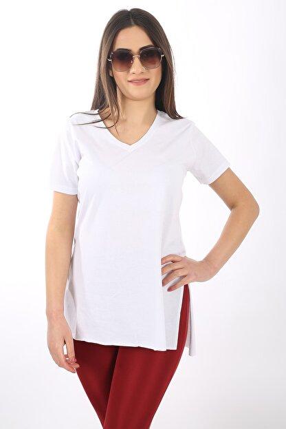 SARAMODEX V Yaka Düz Renk Basic Tişört