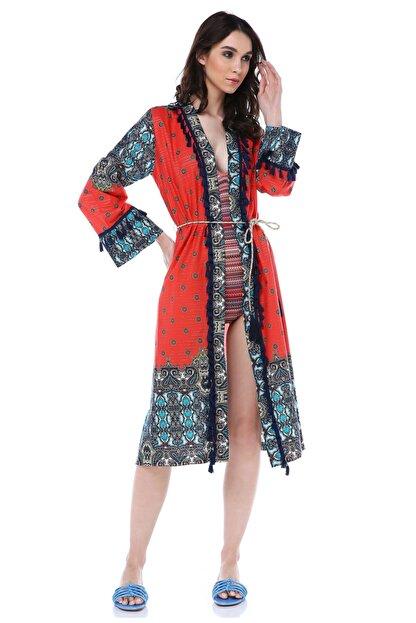 Diger Karakterler Aksesuar Detaylı Etnik Desenli Kol Detaylı Yazlık Uzun Kimono