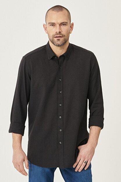 Altınyıldız Classics Erkek Siyah Tailored Slim Fit Dar Kesim Düğmeli Yaka Keten Gömlek