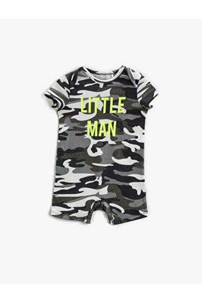 Koton Erkek Bebek Gri Yazılı Tulum