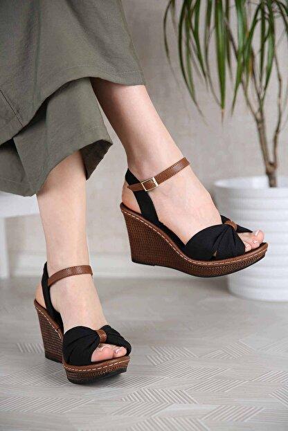 Ccway Kadın Siyah Keten Çapraz Boğumlu Dolgu Topuklu Sandalet