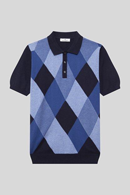 Halifaks Erkek Polo Yaka Baklava Desenli Pamuklu Koyu T-shirt
