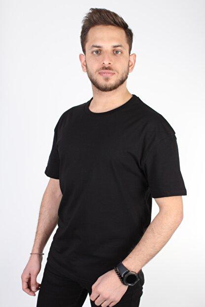YASAR GİYİM Erkek Siyah Oversize T-shirt