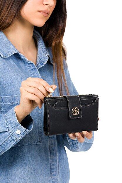 BAGzy Kadın Siyah Kartlıklı Patlı Mini Cüzdan