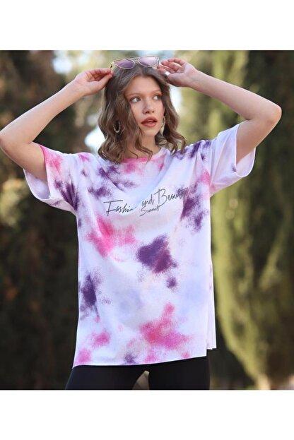 WoolnClyde Kadın Pembe Günlük  Koton Rahat Kesim Kısa Kollu Yuvarlak Yaka T-shirt