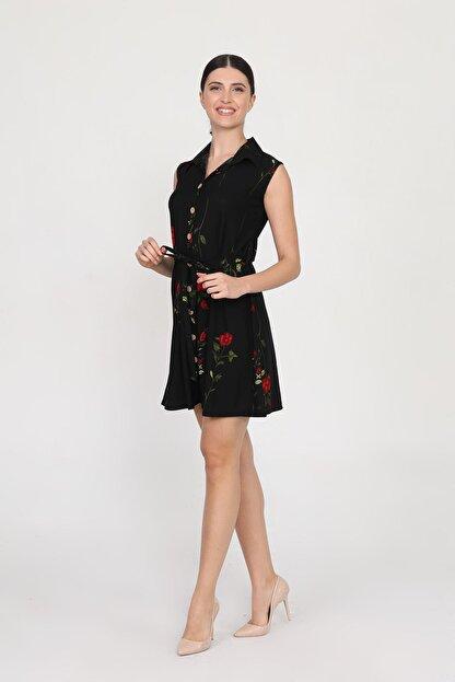 Ceylen Kadın  Önden Düğmeli Desenli Mini Örme Krep Elbise