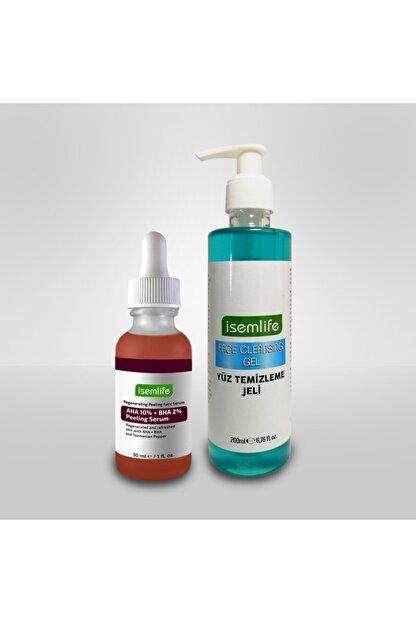İsemlife Yüz Temizleme Jeli + Cilt Tonu Eşitleyici Yenileyici Peeling Serum