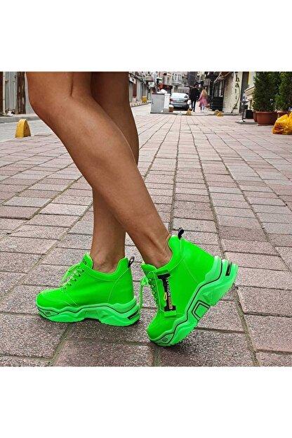 GOTHICA Kadın Neon Yeşil Gizli Topuklu Spor Ayakkabı